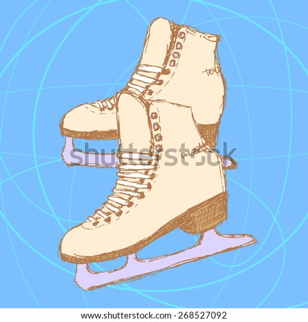 Sketch skating shoes in vintage style, vector - stock vector