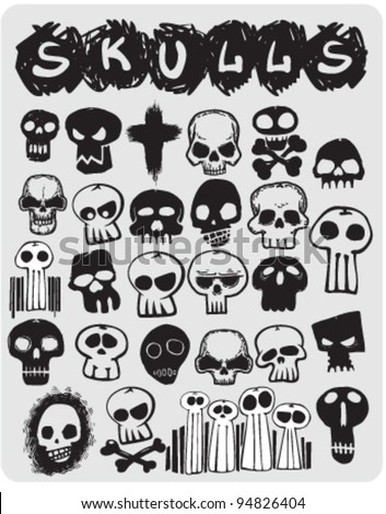 sketch skulls set - stock vector