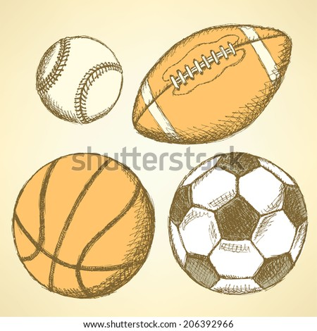 Sketch soccer, american football, baseball and basketball ball
