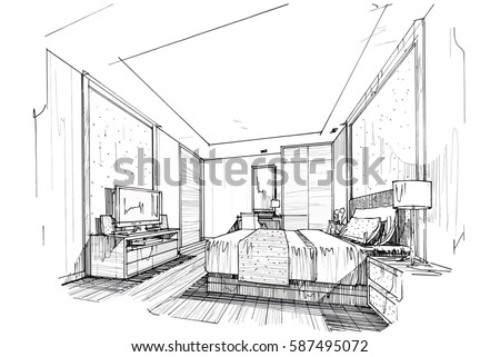 Sketch Streaks Bedroom Black And White Interior Design Vector