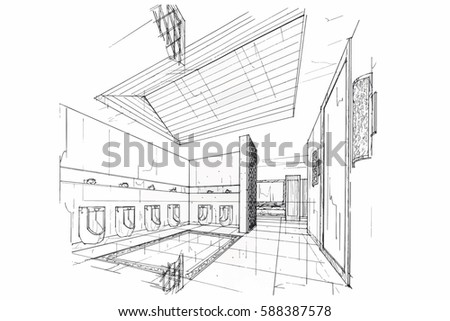 Sketch Streaks Toilet Bathroom Black And White Interior Design Vector