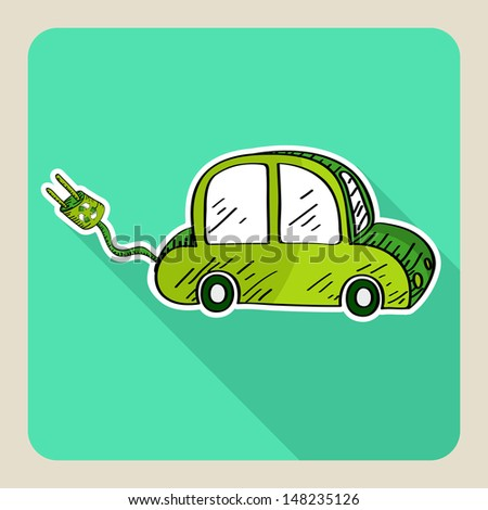 Sketch style electric car icon illustration. Vector file layered for easy manipulation and custom coloring. - stock vector
