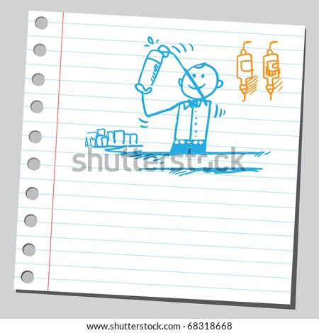 Sketch style illustration of a barman holding shaker