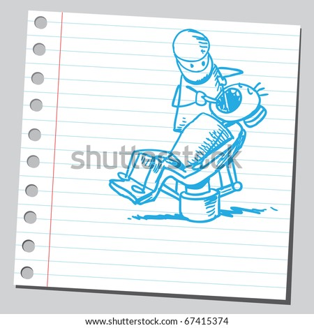 Sketch style illustration of a dentist - stock vector