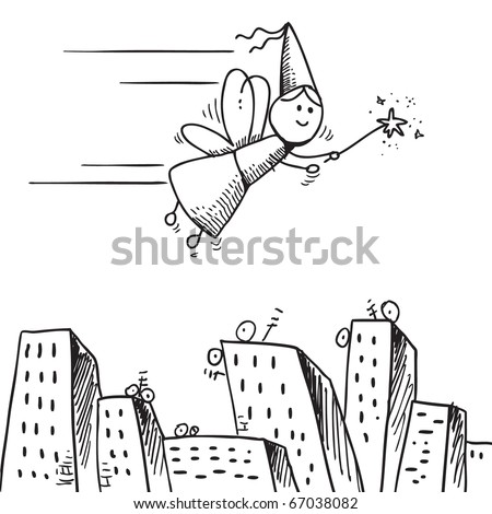 Sketch style illustration of a fairy flying over city - stock vector