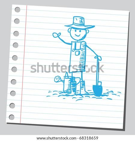 Sketch style illustration of a gardener - stock vector