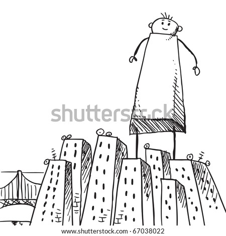 Sketch style illustration of a giant man standing in the middle of a city - stock vector