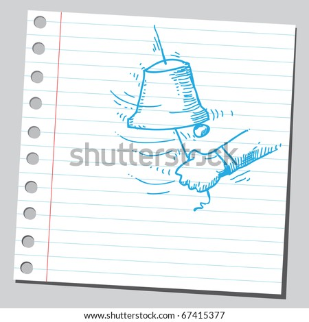 Sketch style illustration of a hand and a bell ringing - stock vector