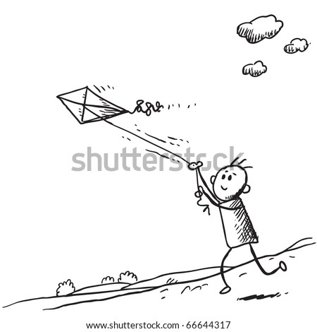Sketch style illustration of a kid starting a kite - stock vector