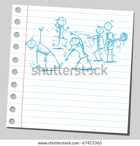 Sketch style illustration of a people exercising - stock vector