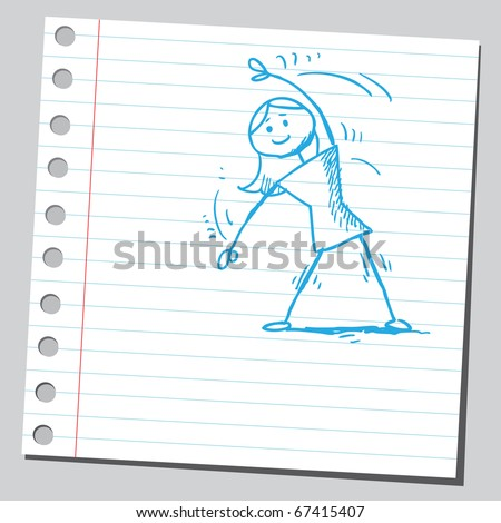 Sketch style illustration of a woman exercising - stock vector