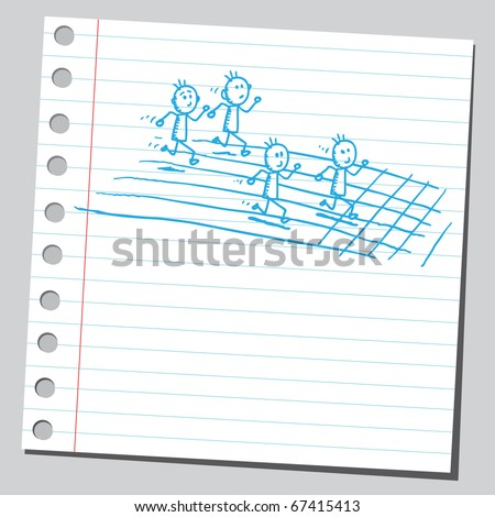 Sketch style illustration of an athletic race - stock vector