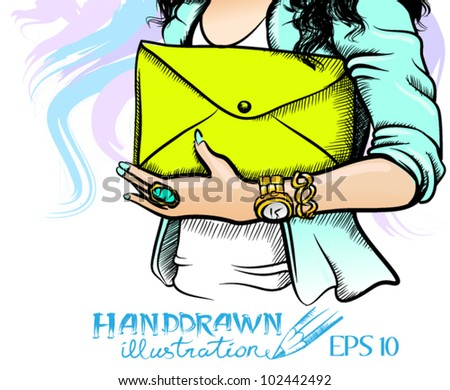 Sketch style illustration of girl holding a trendy neon yellow envelope shaped clutch bag - vector illustration. - stock vector