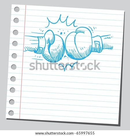 Sketch style vector illustration of a boxing punch - stock vector