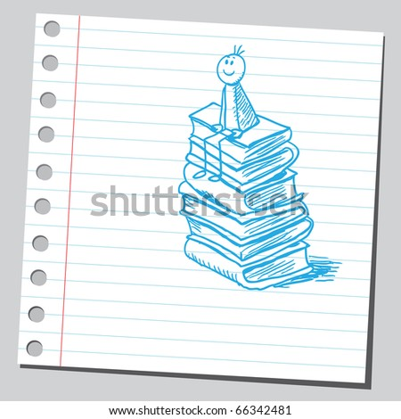 Sketch style vector illustration of a boy siting on books - stock vector