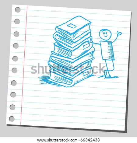 Sketch style vector illustration of a boy with books - stock vector