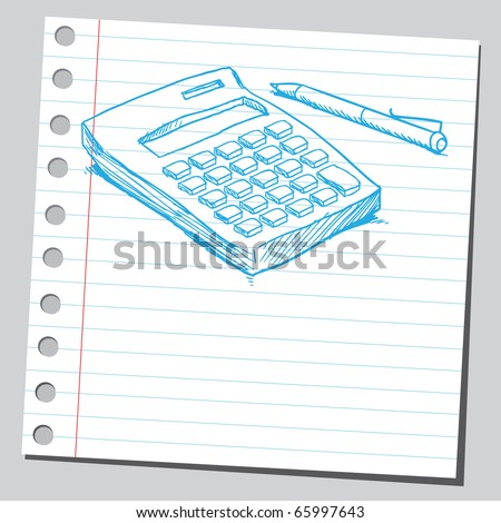 Sketch style vector illustration of a calculator and pen - stock vector