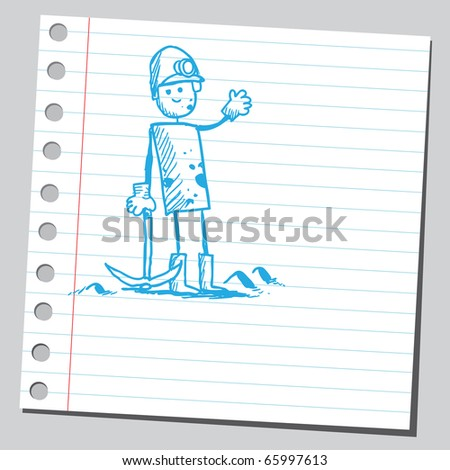 Sketch style vector illustration of a coal miner