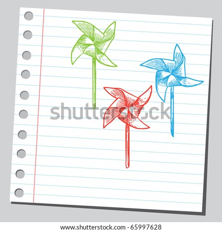 Sketch style vector illustration of a colorful pinwheels - stock vector