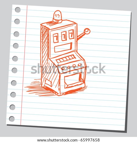 Sketch style vector illustration of a slot machine - stock vector