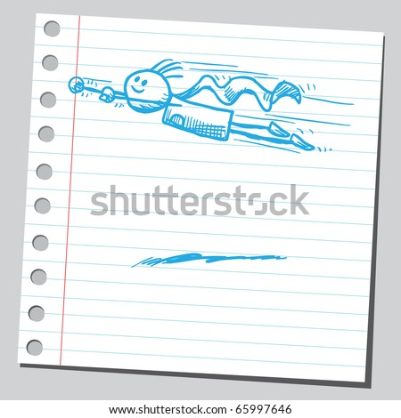 Sketch style vector illustration of a superhero flying - stock vector