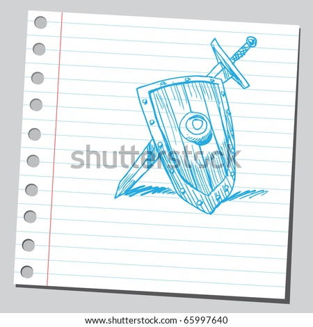 Sketch style vector illustration of a sword and shield - stock vector