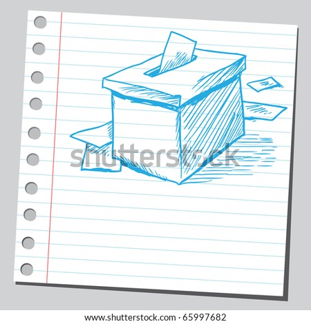 Sketch style vector illustration of a vote box