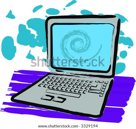Sketch style vector illustration of laptop with grunge feel to it. - stock vector