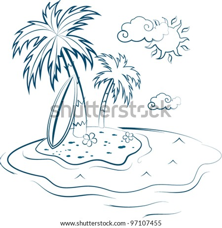Sketch summer picture - stock vector