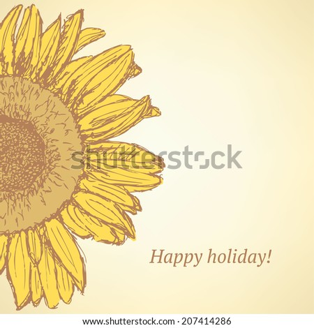 Sketch sunflower, vector vintage background eps 10