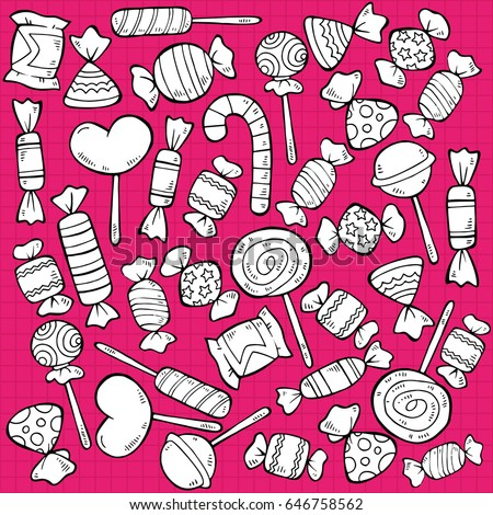 Sketch tasty sweet products pattern with wrapped candies and lollipops on bright pink background vector illustration
