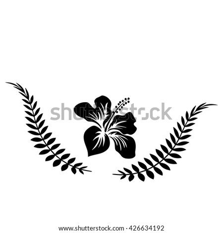 sketch tattoo fern leaf and exotic flower - stock vector