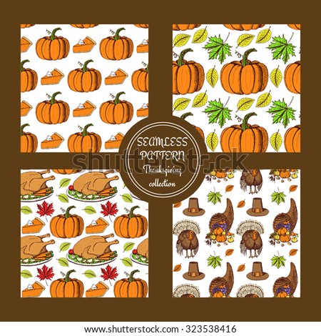 Sketch Thanksgiving patterns in vintage style, vector set - stock vector