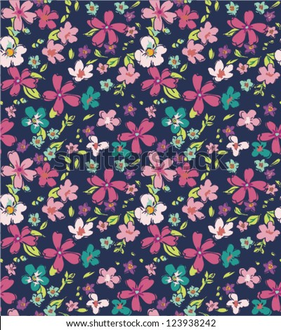 sketch tiny flower seamless pattern background - stock vector