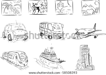 Sketch travel icons - stock vector