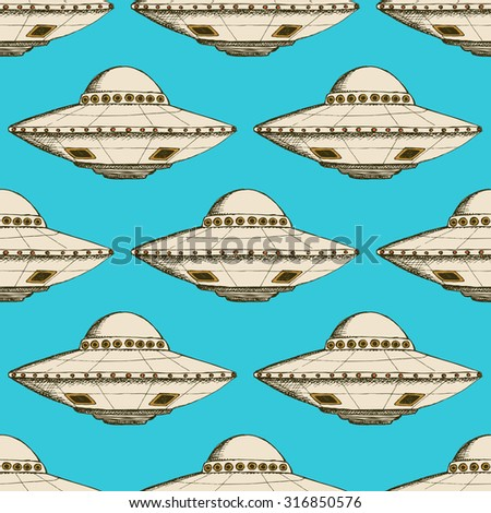 Sketch ufo plate in vintage style, vector poster - stock vector