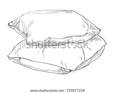 Sketch Vector Illustration Pillow Hand Drawn Stock Vector ...