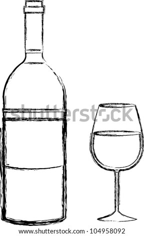 Sketch wine bottle and glass - stock vector
