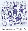 Sketchbook doodles. Hand-drawn. - stock vector