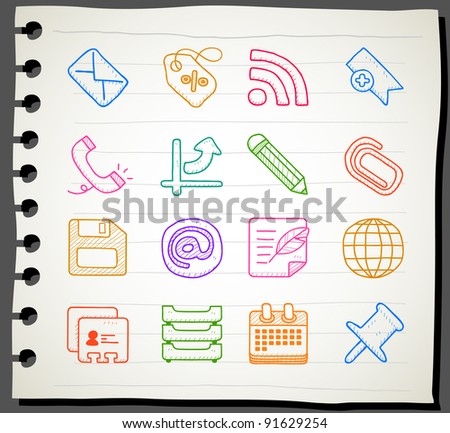 Sketchbook series | business,office,internet icon set - stock vector