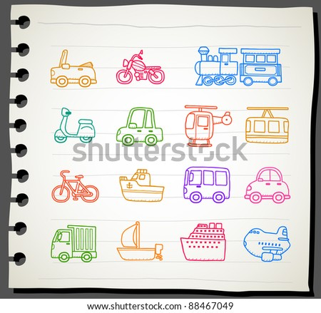 Sketchbook  series |  car,transportation,vehicle icon set - stock vector