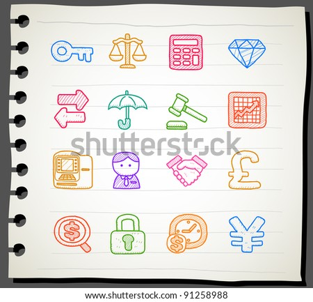 Sketchbook series |  finance,banking, business,office,internet icon set