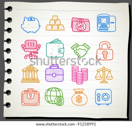 Sketchbook series |  finance,banking, business,office,internet icon set - stock vector