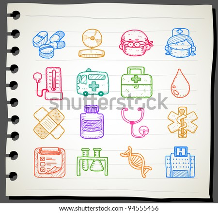 Sketchbook series | medical icon set - stock vector