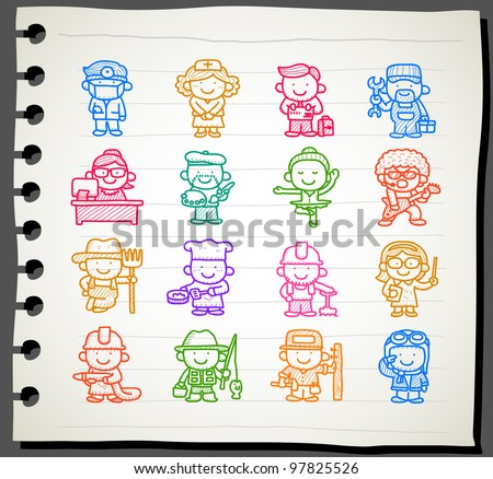 Sketchbook series | occupation,business,job,worker,people icon set - stock vector