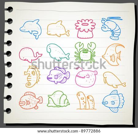 Sketchbook series | sea creatures,animals icon set - stock vector
