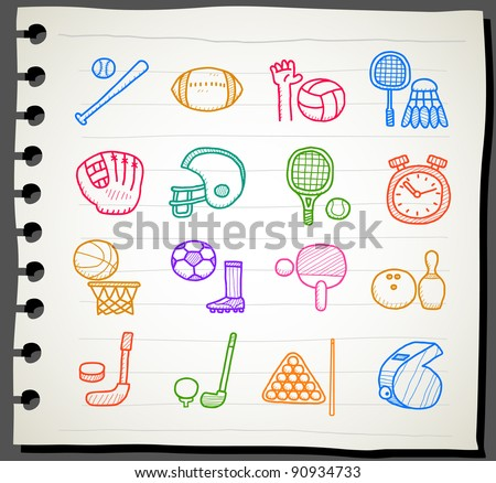 Sketchbook series | sport,fitness icon set - stock vector