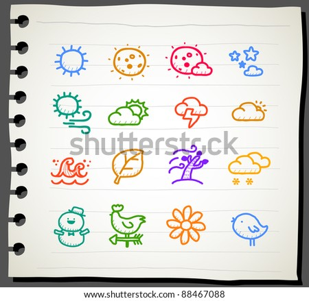 Sketchbook series | weather , season ,natural icon set - stock vector