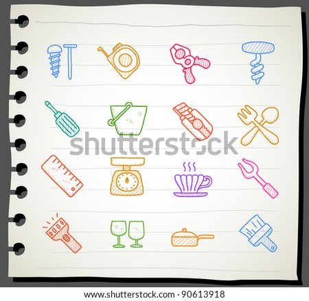 Sketchbook series | working  tools icon set - stock vector
