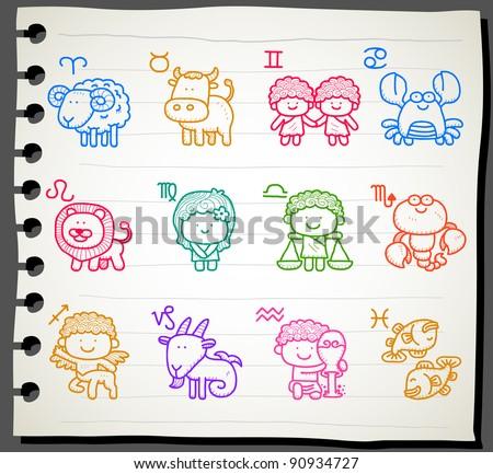 Sketchbook series |  Zodiac icon set - stock vector